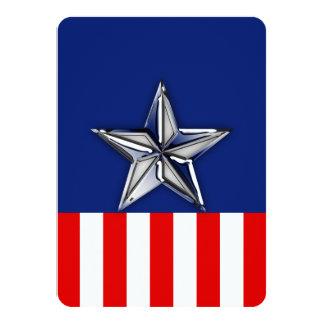 """Estrella de la plata del cromo en colores invitación 4.5"""" x 6.25"""""""
