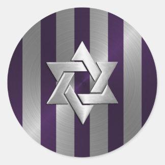 Estrella de la raya del ciruelo y de la plata de pegatina redonda
