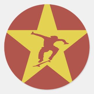 Estrella de la revolución pegatina redonda