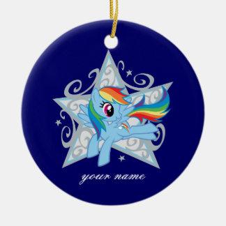 Estrella de la rociada del arco iris adorno navideño redondo de cerámica