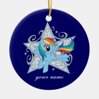 Estrella de la rociada del arco iris adorno redondo de cerámica