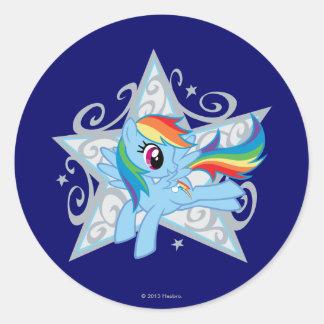 Estrella de la rociada del arco iris pegatinas redondas