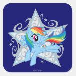 Estrella de la rociada del arco iris calcomania cuadradas personalizadas