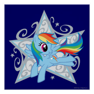 Estrella de la rociada del arco iris póster