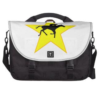 Estrella de la silueta de la carrera de caballos bolsas de portátil