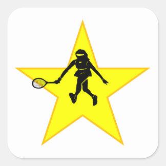 Estrella de la silueta del jugador de tenis calcomania cuadradas personalizada