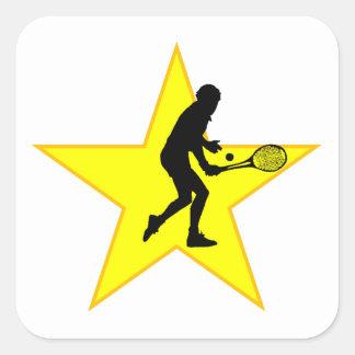 Estrella de la silueta del jugador de tenis calcomania cuadradas personalizadas