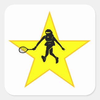 Estrella de la silueta del jugador de tenis pegatina cuadradas personalizadas