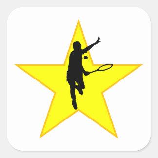 Estrella de la silueta del jugador de tenis calcomanía cuadradas