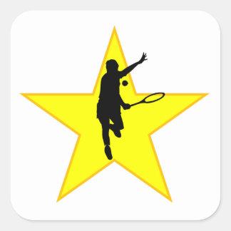 Estrella de la silueta del jugador de tenis calcomanias cuadradas