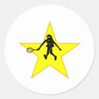 Estrella de la silueta del jugador de tenis pegatinas redondas