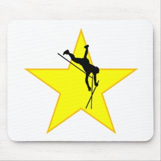 Estrella de la silueta del saltador de poste alfombrillas de ratón