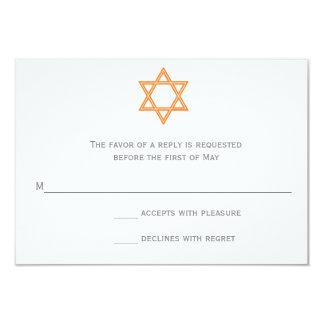 """Estrella de la tarjeta de Mitzvah RSVP del palo de Invitación 3.5"""" X 5"""""""