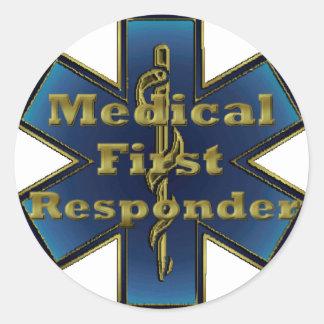 Estrella de la vida - primer respondedor médico pegatina redonda