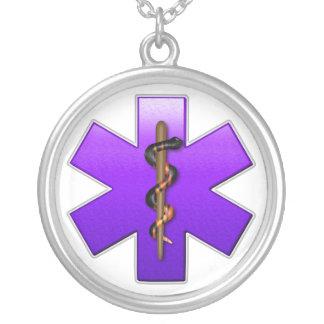 Estrella de la vida (violeta) colgante redondo