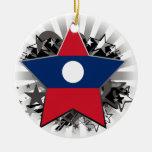 Estrella de Laos Adorno Redondo De Cerámica