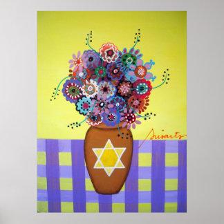 Estrella de las flores de David Posters