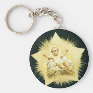 Estrella de los *Christmas del vintage * diseño de Llavero Redondo Tipo Pin
