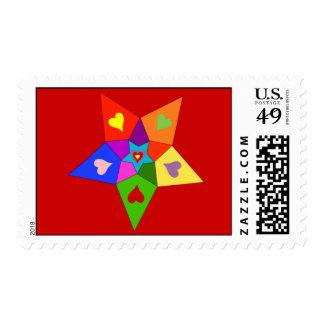 Estrella de los corazones del arco iris sello