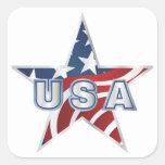 Estrella de los E.E.U.U. Calcomanias Cuadradas