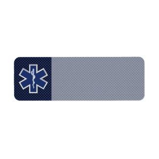 Estrella de los servicios médicos de la emergencia etiquetas de remite