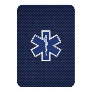 Estrella de los servicios médicos de la emergencia invitación 8,9 x 12,7 cm