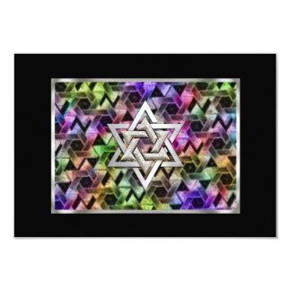 """Estrella de Mitzvah de la barra de la tarjeta de Invitación 3.5"""" X 5"""""""