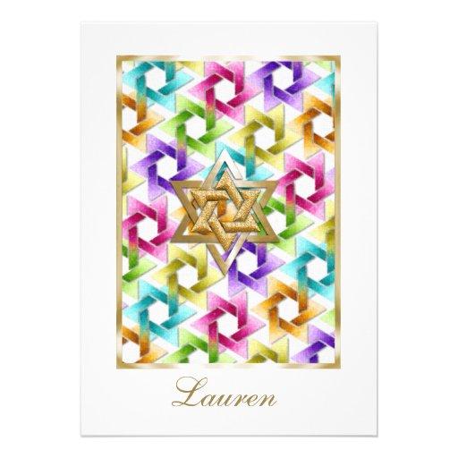 Estrella de Mitzvah del palo del damasco del arco  Comunicado Personalizado