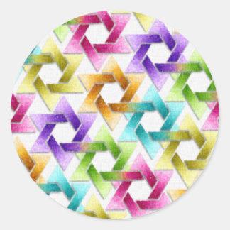 Estrella de Mitzvah del palo del damasco del arco Etiqueta Redonda