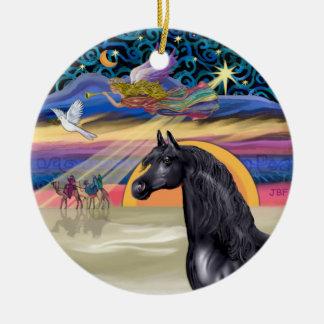 Estrella de Navidad - caballo árabe (negro) Adorno Redondo De Cerámica