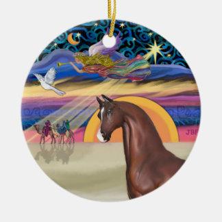 Estrella de Navidad - caballo (marrón) Adorno Redondo De Cerámica