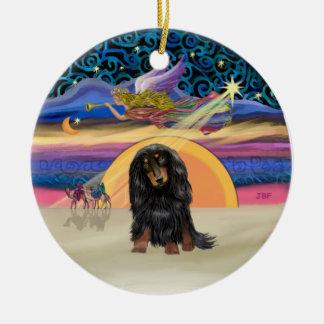 Estrella de Navidad - Dachshund de pelo largo (BT) Adorno Redondo De Cerámica