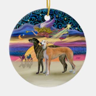 Estrella de Navidad - dos galgos Adorno Redondo De Cerámica