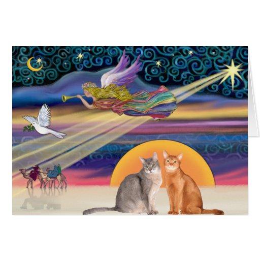 Estrella de Navidad - dos gatos abisinios Tarjeta De Felicitación