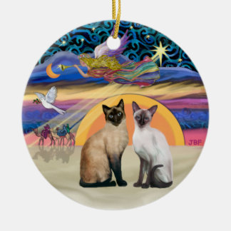 Estrella de Navidad - dos gatos siameses Ornamente De Reyes