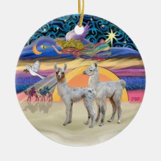 Estrella de Navidad - dos llamas del bebé Adorno Navideño Redondo De Cerámica