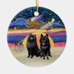 Estrella de Navidad - dos Schipperkes Ornamento De Reyes Magos