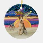 Estrella de Navidad - fox terrier #3 del alambre Adorno