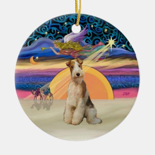 Estrella de Navidad - fox terrier #3 del alambre Ornamento De Reyes Magos