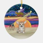 Estrella de Navidad - perrito del Corgi Galés del  Adornos De Navidad