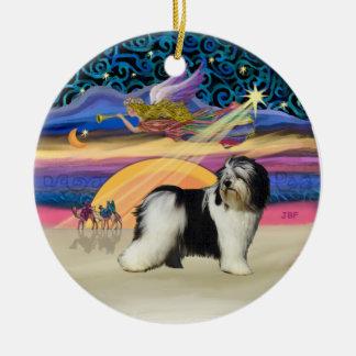 Estrella de Navidad - perro pastor polaco de la Adorno Redondo De Cerámica