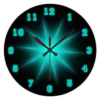 """Estrella de neón azul 10,75"""" reloj redondo grande"""