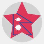 Estrella de Nepal Pegatina Redonda