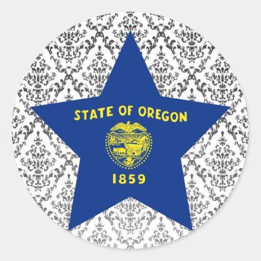 Estrella de Oregon Pegatina Redonda