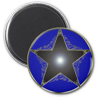 Estrella de oro 2 de 5 puntos imán redondo 5 cm