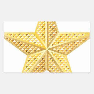 Estrella de oro 2 pegatina rectangular