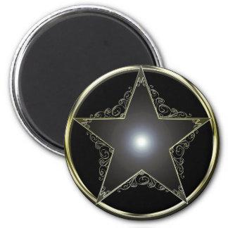 Estrella de oro de 5 puntos imán redondo 5 cm