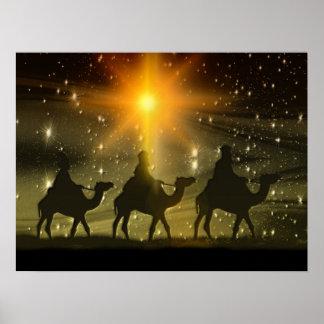 Estrella de oro de los hombres sabios del navidad póster