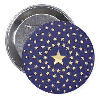 Estrella de oro grande circundada por estrellas pin redondo de 3 pulgadas