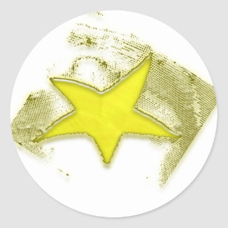 Estrella de oro pegatinas redondas